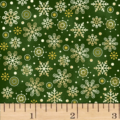 Noel Snowflakes Metallic Green