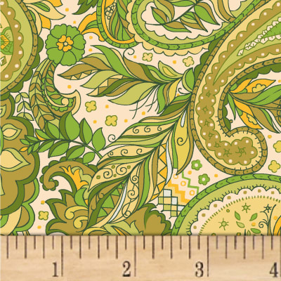 Boho Chic Paisley Feather Cream/Greens