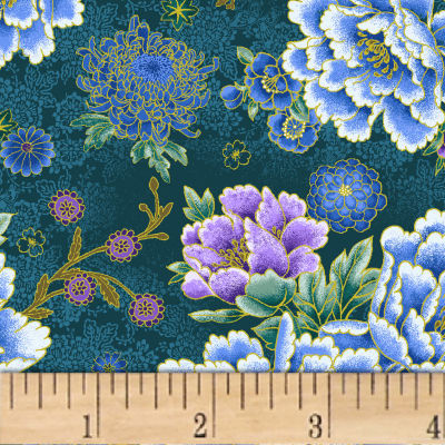 Asian Garden Large Floral Metallic Teal/Multi
