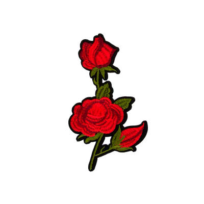 "Rita Iron-on Embroidered Roses Applique 6"" x 3 1/2"""
