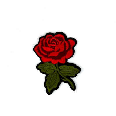 "Marita Iron-on Embroidered Rose Applique 3 1/2"" x 2 1/2"""