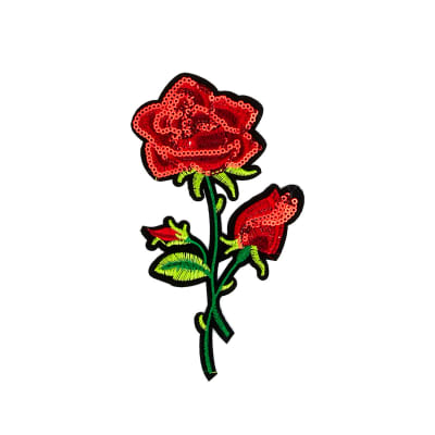"Daria Sequin Iron-on Embroidered Rose Applique 6 1/4"" x 3 5/16"""