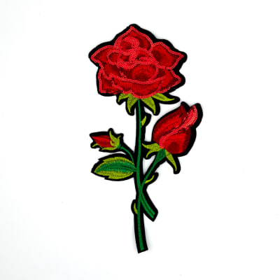 "Darlene Sequin Iron-on Embroidered Rose Applique 10 5/8"" x 5 3/4"""