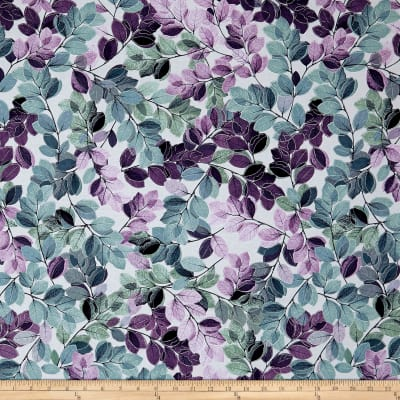 Kanvas Essence of Pearl Sheer Leaves Lilac/Multi Metallic Silver