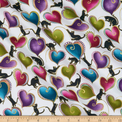 Cat-I-tude Hearts and Cats Metallic White/Multi