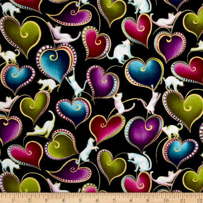 Cat-I-tude Hearts and Cats Metallic Black/Multi