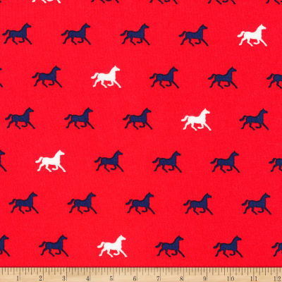 Kaufman London Calling Lawn Red Horses