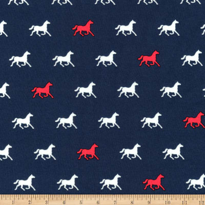 Kaufman London Calling Lawn Navy Horses