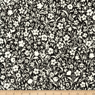 Kaufman London Calling Lawn Black Flowers