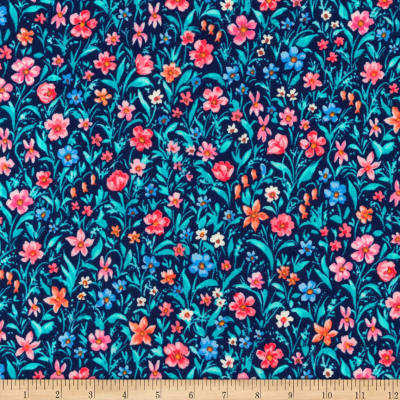 Kaufman London Calling Lawn Navy Flowers