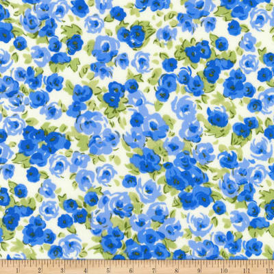 Kaufman London Calling Lawn Blue Flowers