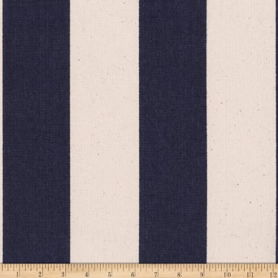 Kaufman Sevenberry Canvas Prints Navy Stripes