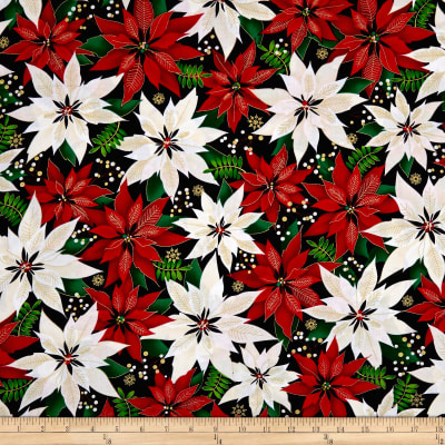 Kanvas Merry & Bright Elegant Poinsettias Metallic Black