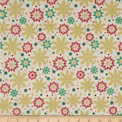 Kanvas Merry & Bright Elegant Snowflakes Metallic Cream