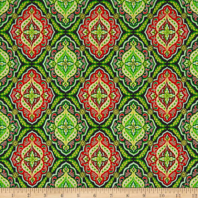 Kanvas Merry & Bright Holiday Medallion Metallic Green/Red
