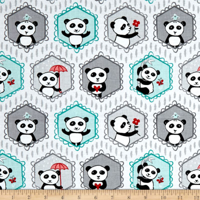 Riley Blake Panda Love Panda Main Lt Gray