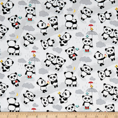 Riley Blake Panda Love Panda Toss Lt Gray