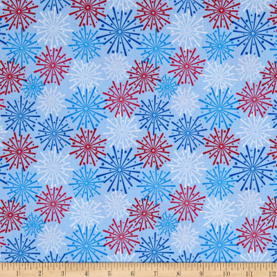 Riley Blake Patriotic Picnic Fireworks Light Blue