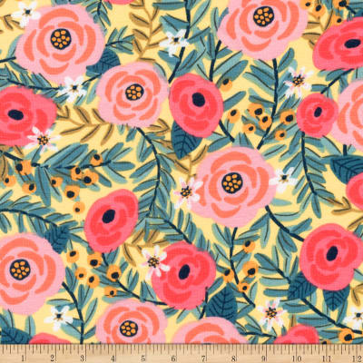 Kaufman Laguna Jersey Knit Prints Yellow Flowers