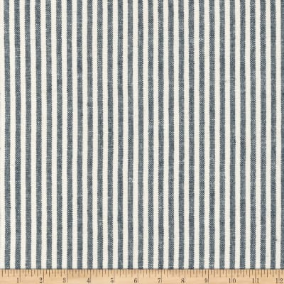 Kaufman Essex Yarn Dyed Classic Wovens Linen Stripes Indigo