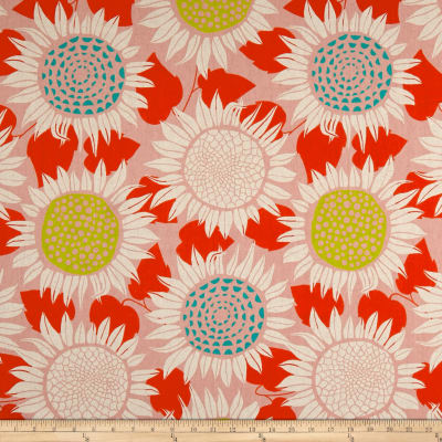 Cotton + Steel Front Yard Sunflowers Canvas Pink