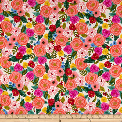 Cotton + Steel Rifle Paper Co. English Garden Rayon Challis Juliet Rose Cream