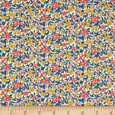 Liberty Fabrics The Cottage Garden Forget Me Not Blue Red Yellow