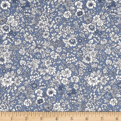 Liberty Fabrics The English Garden Emily Silhouette Z Dark Blue