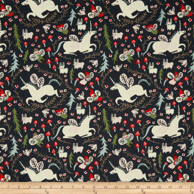 Birch Organic Folkland Enchanted Unicorns In Dusk Poplin
