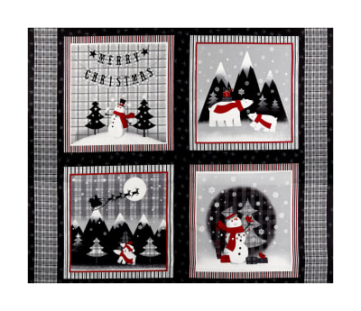 "Red + Grey Christmas Block 36"" Panel Grey/Red"