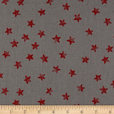 Red + Grey Christmas Stars Grey/Red