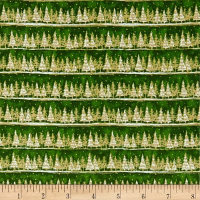 Seasons Greetings Holiday Tree Stripe  Metallic Forest
