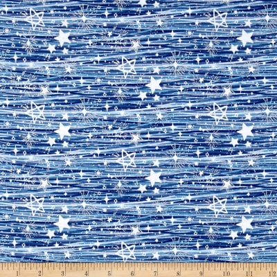 Blue Holidays Assorted Stars  Silver Metallic Blue/White
