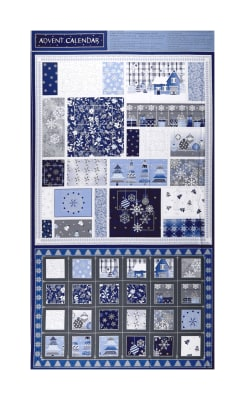 "Blue Holidays Advent Calendar 24""Panel  Silver Metallic Blue/Grey"