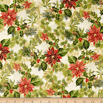 Holiday Editions Holly, Pine And Poinsettias Metallic Ivory/Multi