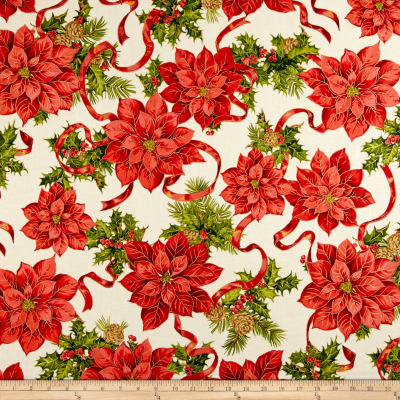 Holiday Editions Garnished Poinsettias Metallic Ivory/Multi