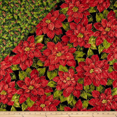 Double Face Quilted Holiday Editions Poinsettias Etched Diamond Quilted Metallic Black/Multi