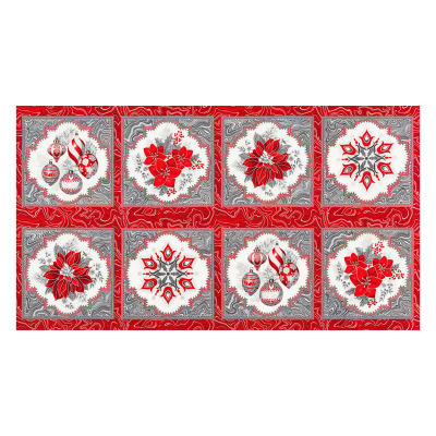 "Kaufman Holiday Flourish 11 Snowflake Ornament 24"" Panel Metallic Silver"