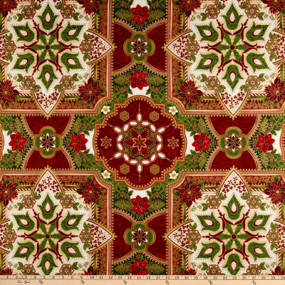 Kaufman Holiday Flourish 11 Medallion Metallic Holiday