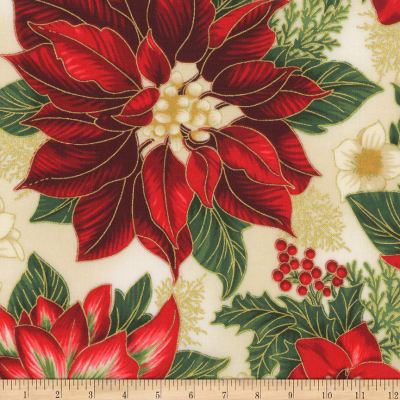 Kaufman Holiday Flourish 11 Pointsettias Flowers Metallic Holiday