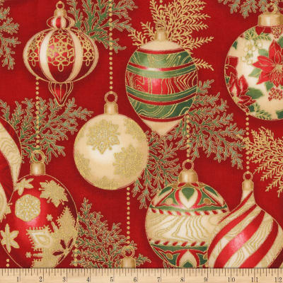 Kaufman Holiday Flourish 11 Ornaments Metallic Crimson