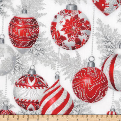 Kaufman Holiday Flourish 11 Ornaments Metallic Silver