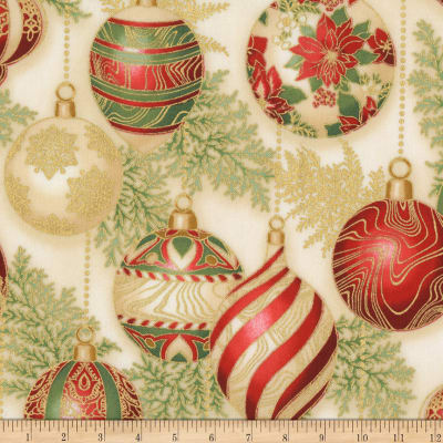 Kaufman Holiday Flourish 11 Ornaments Metallic Holiday