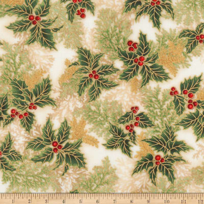 Kaufman Holiday Flourish 11 Pine Boughs Metallic Holiday