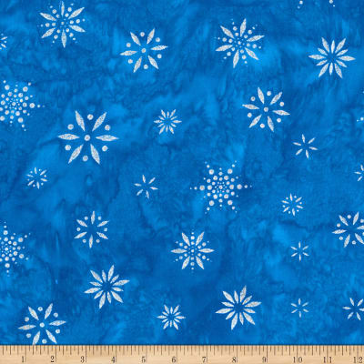Kaufman Artisan Batiks Snowflakes 2 Metallic Royal Blue