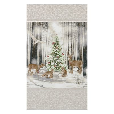 "Kaufman Winter White 3 Ice Christmas Trees 24"" Panel Metallic White"