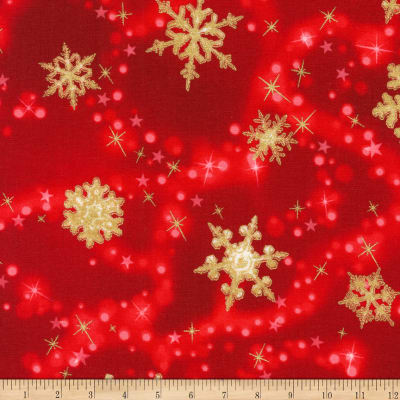 Kaufman Winter's Grandeur Snowflakes Metallic Red