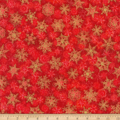 Kaufman Winter's Grandeur Snowflakes Metallic Red/Multi