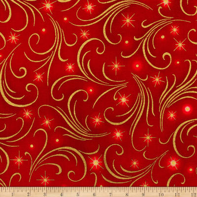 Kaufman Winter's Grandeur Swirls Metallic Red