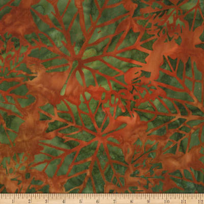 Kaufman Cornucopia  Fall Maple Leaves Batik Rust